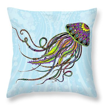 Throw Pillow featuring the drawing Electric Jellyfish by Tammy Wetzel