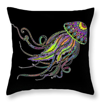 Throw Pillow featuring the drawing Electric Jellyfish On Black by Tammy Wetzel
