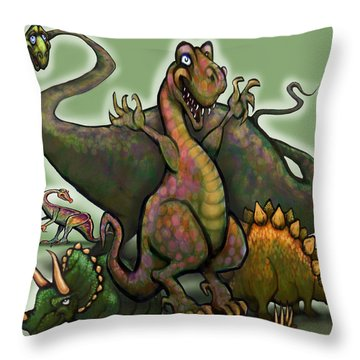 Throw Pillow featuring the painting Dinosaurs by Kevin Middleton