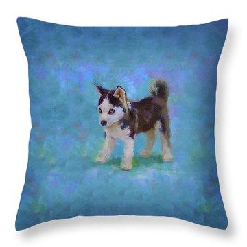Alaskan Husky Sled Dog Puppy Throw Pillow