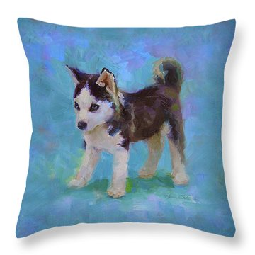 Alaskan Husky Sled Dog Puppy Throw Pillow
