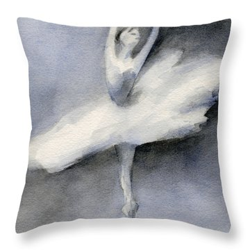Ballerina In White Tutu Watercolor Painting Throw Pillow by Beverly Brown