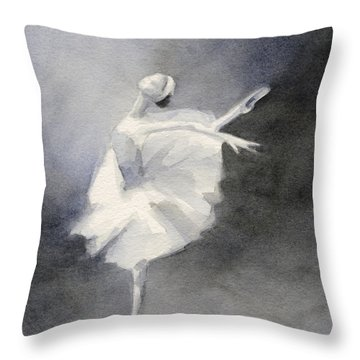 Watercolor Ballerina Painting Throw Pillow by Beverly Brown