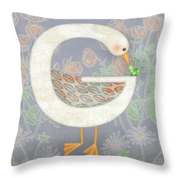 G Is For Goose And Grasshopper Throw Pillow