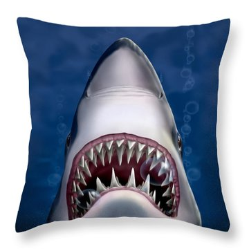 Jaws Great White Shark Art Throw Pillow by Walt Curlee