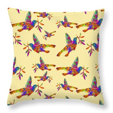 Dove With Olive Branch Throw Pillow by Christina Rollo