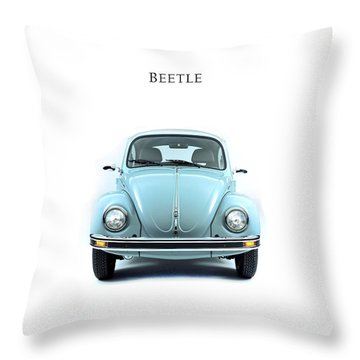 Volkswagen Beetle Throw Pillow by Mark Rogan