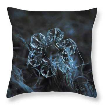 Throw Pillow featuring the photograph Snowflake Photo - The Core by Alexey Kljatov
