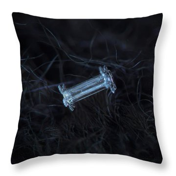 Throw Pillow featuring the photograph Snowflake Photo - Capped Column by Alexey Kljatov