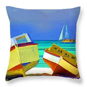 Aruba Boats Throw Pillow by Dennis Cox WorldViews