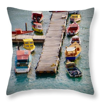Throw Pillow featuring the photograph Colorful Fishing Boats by Jean Marie Maggi