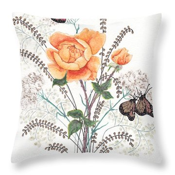 Throw Pillow featuring the painting As I Ride The Butterfly by Stanza Widen