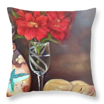 Throw Pillow featuring the painting As If In A Dream by Marlene Book