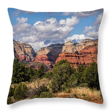 Throw Pillow featuring the photograph As The Clouds Pass On By In Sedona  by Saija Lehtonen