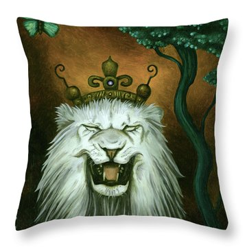 Throw Pillow featuring the painting As The Lion Laughs by Leah Saulnier The Painting Maniac