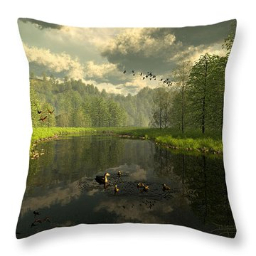 As The River Flows Throw Pillow