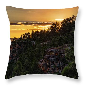 Throw Pillow featuring the photograph As The Sun Sets On The Rim  by Saija Lehtonen