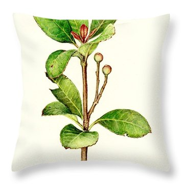 Throw Pillow featuring the painting As The Twig Is Bent The Tree Inclines. by Heidi Kriel