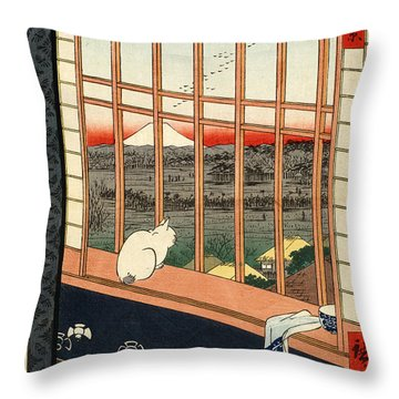 Asakusa Rice Field Throw Pillow by Pg Reproductions