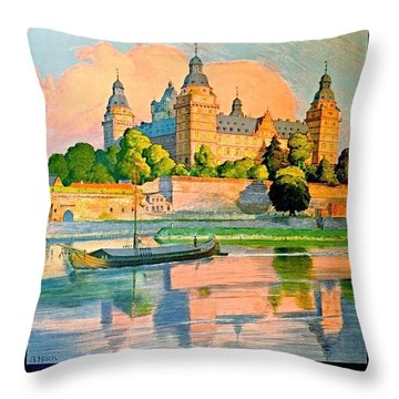 Aschaffenburg, River Main,bavaria, Germany, Travel Poster Throw Pillow
