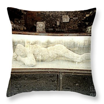 Throw Pillow featuring the photograph Ash Encrusted Person From Volcano Eruption At Pompei, Italy by Merton Allen