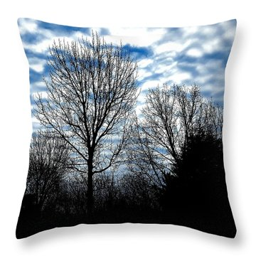 Ash Trees Against A Mackerel Sky Throw Pillow