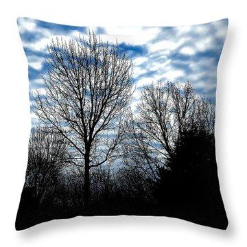 Ash Trees Against A Mackerel Sky Throw Pillow