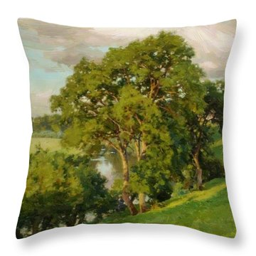 Ash Trees At Cropthorne Worcestershire Throw Pillow