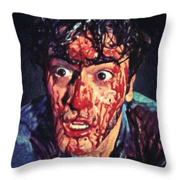 Throw Pillow featuring the painting Ash Williams by Taylan Apukovska