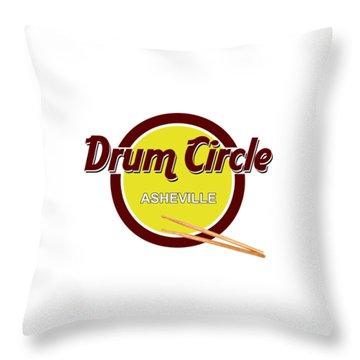 Asheville Drum Circle Logo Throw Pillow