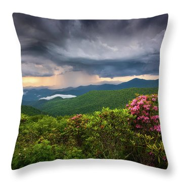 Asheville North Carolina Blue Ridge Parkway Thunderstorm Scenic Mountains Landscape Photography Throw Pillow
