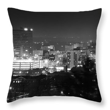 Asheville North Carolina Skyline Throw Pillow by Gray  Artus