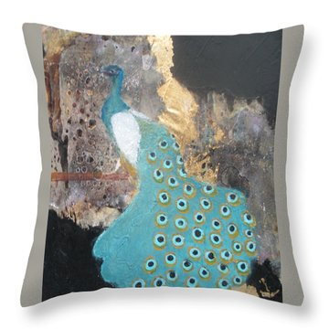 Ashley's Peacock Throw Pillow by Andrea Friedell