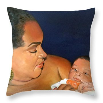 Throw Pillow featuring the painting Ashli And Middleton by Marlene Book