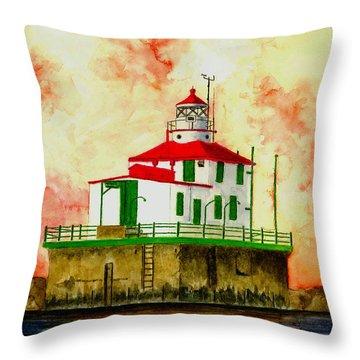 Ashtabula Lighthouse Throw Pillow by Michael Vigliotti