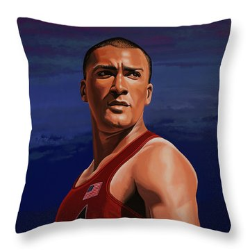 Ashton Eaton Painting Throw Pillow by Paul Meijering