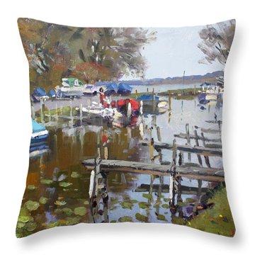 Ashville Bay Marina Throw Pillow