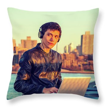 Asian American College Student Traveling, Studying In New York Throw Pillow