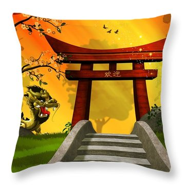 Asian Art Chinese Landscape  Throw Pillow
