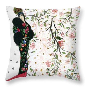 Asian Art Deco Beauty Throw Pillow