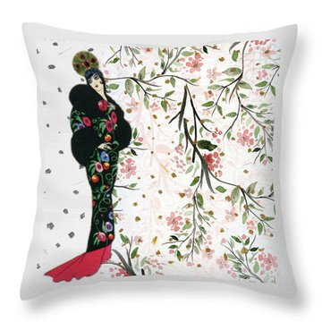 Asian Art Deco Beauty Throw Pillow