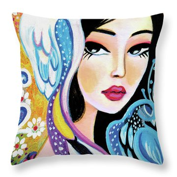 Asian Bird Throw Pillow