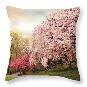 Asian Cherry Grove Throw Pillow by Jessica Jenney