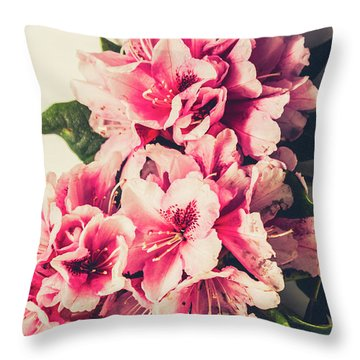 Asian Floral Rhododendron Flowers Throw Pillow