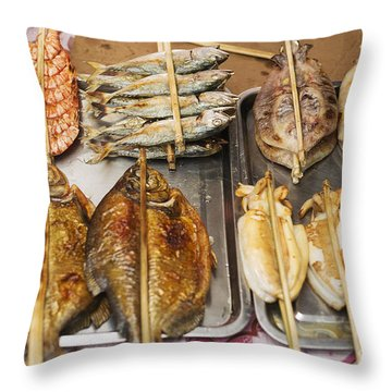 Asian Grilled Barbecued Seafood In Kep Market Cambodia Throw Pillow