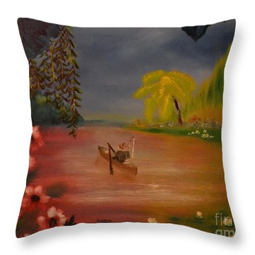 Throw Pillow featuring the painting Asian Lillies by Denise Tomasura