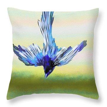 Throw Pillow featuring the digital art Asian Paradise Flycatcher by Iowan Stone-Flowers