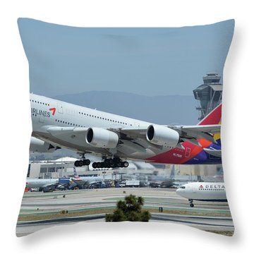 Throw Pillow featuring the photograph Asiana Airbus A380-800 Hl7626 Los Angeles International Airport May 3 2016 by Brian Lockett