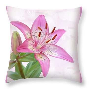 Asiatic Lily Trogon Throw Pillow