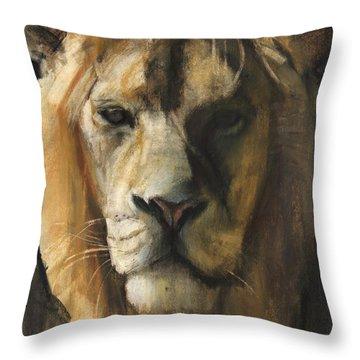 Asiatic Lion Throw Pillow by Mark Adlington